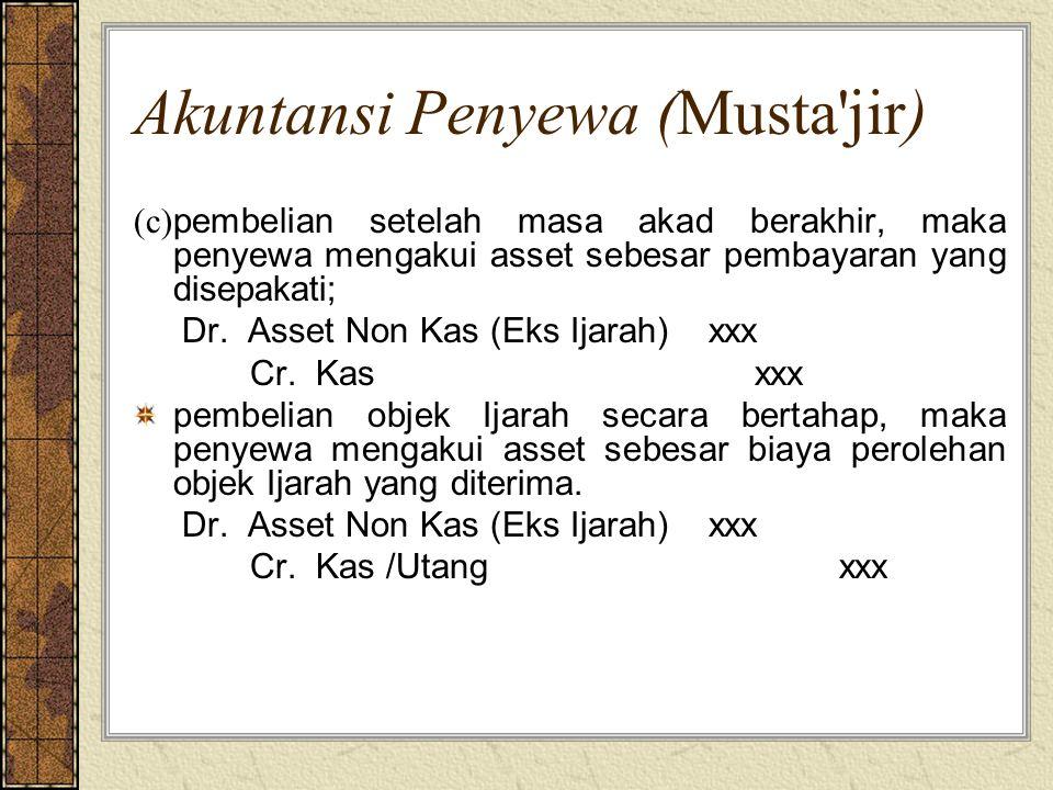 Akuntansi Penyewa (Musta'jir) (c) pembelian setelah masa akad berakhir, maka penyewa mengakui asset sebesar pembayaran yang disepakati; Dr. Asset Non