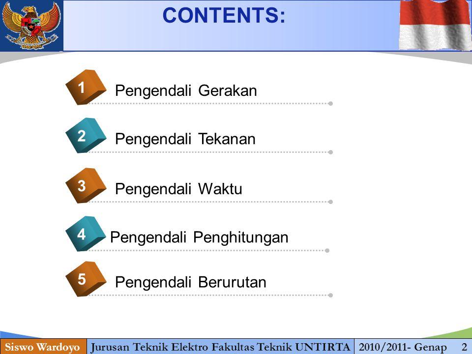 www.themegallery.com CONTENTS: Siswo WardoyoJurusan Teknik Elektro Fakultas Teknik UNTIRTA2010/2011- Genap 2 Pengendali Gerakan 1 Pengendali Tekanan 2