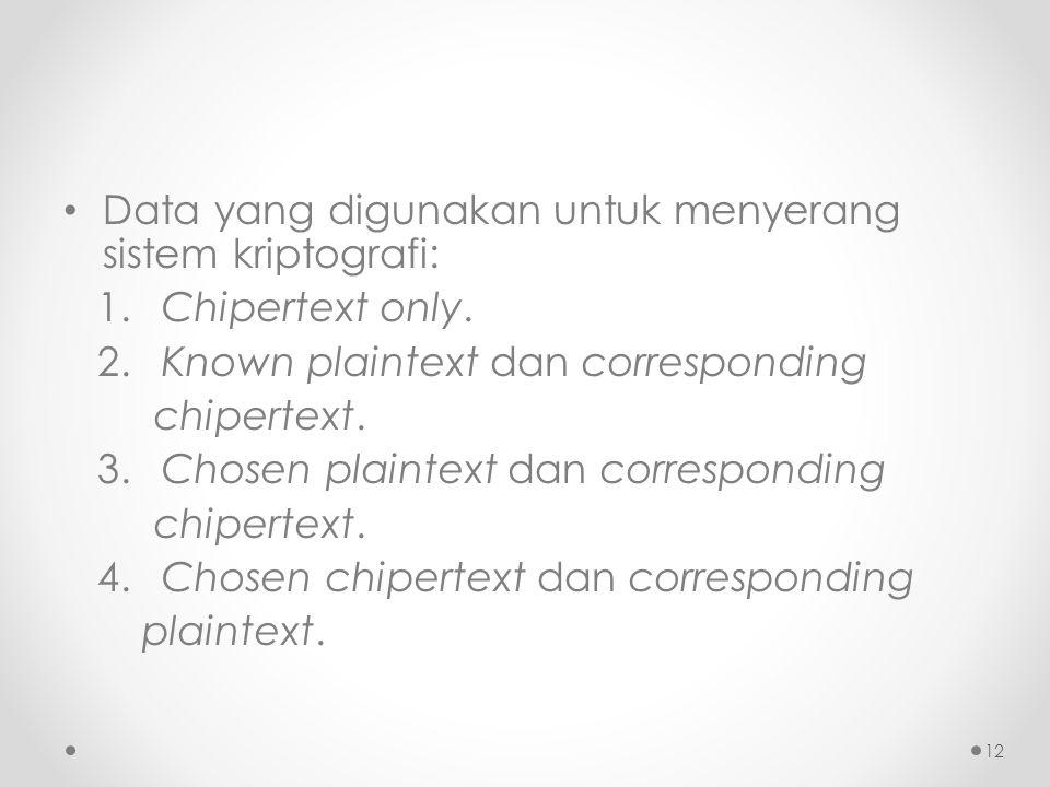 Data yang digunakan untuk menyerang sistem kriptografi: 1. Chipertext only. 2. Known plaintext dan corresponding chipertext. 3. Chosen plaintext dan c