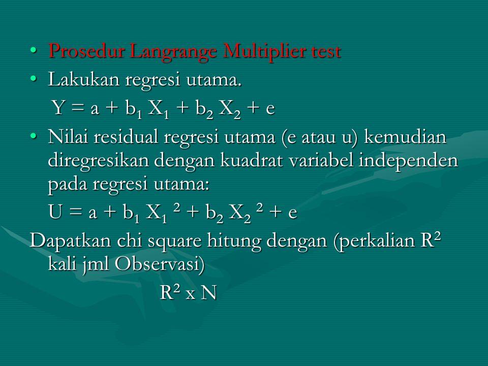 Prosedur Langrange Multiplier testProsedur Langrange Multiplier test Lakukan regresi utama.Lakukan regresi utama. Y = a + b 1 X 1 + b 2 X 2 + e Y = a