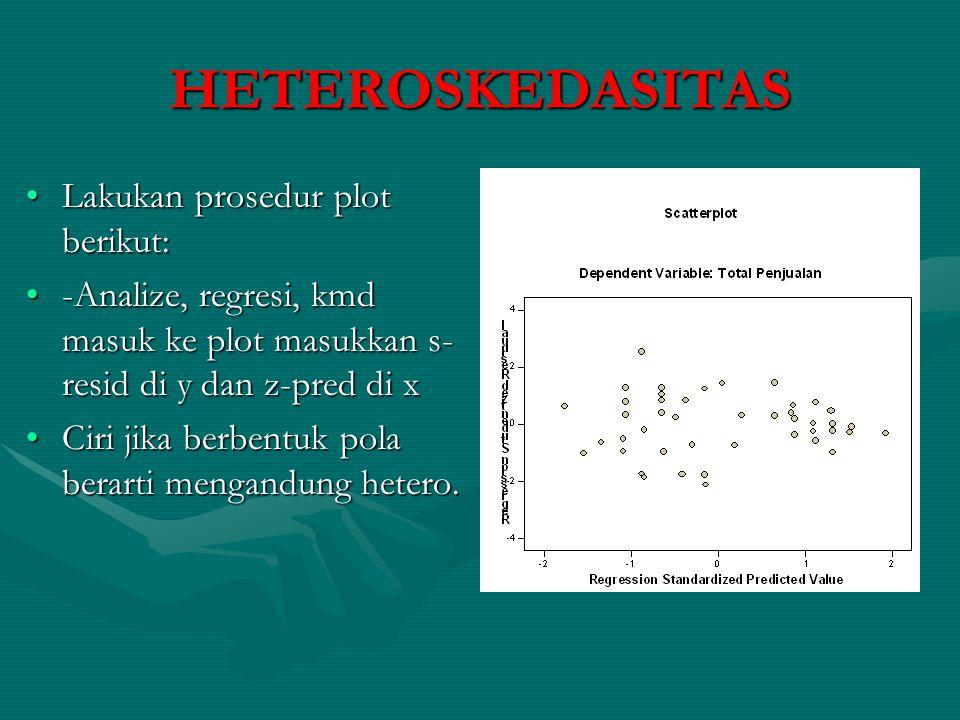 Dengan Park testDengan Park test Jika Ln disturbin error kwadrat tdk signifikan terhadap independen variabel maka tdk mengandung hetero.Jika Ln disturbin error kwadrat tdk signifikan terhadap independen variabel maka tdk mengandung hetero.