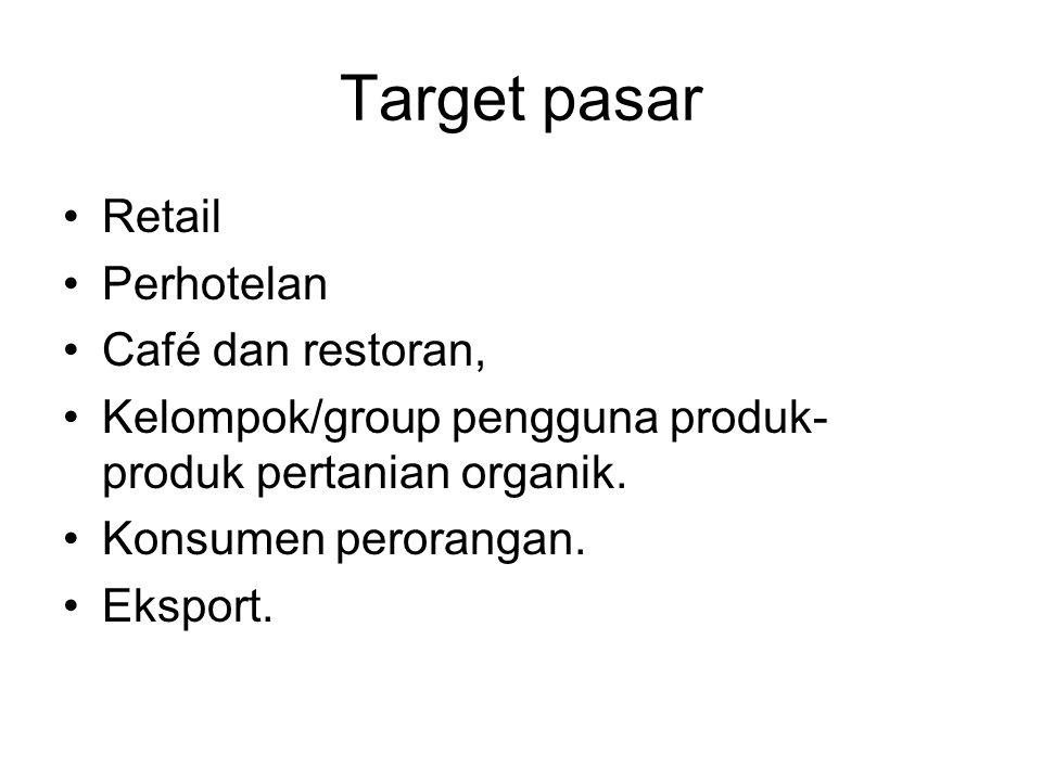 Target pasar Retail Perhotelan Café dan restoran, Kelompok/group pengguna produk- produk pertanian organik. Konsumen perorangan. Eksport.