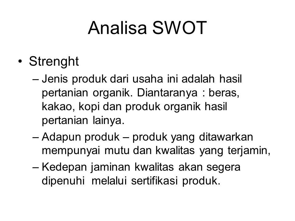 Analisa SWOT Strenght –Jenis produk dari usaha ini adalah hasil pertanian organik. Diantaranya : beras, kakao, kopi dan produk organik hasil pertanian
