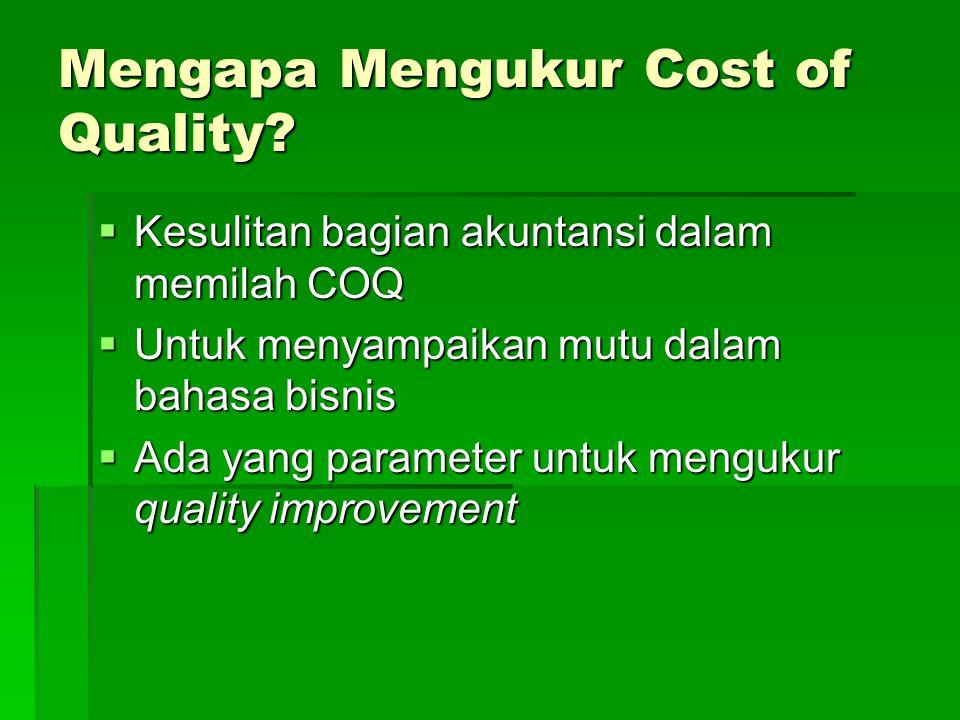 Mengapa Mengukur Cost of Quality?  Kesulitan bagian akuntansi dalam memilah COQ  Untuk menyampaikan mutu dalam bahasa bisnis  Ada yang parameter un