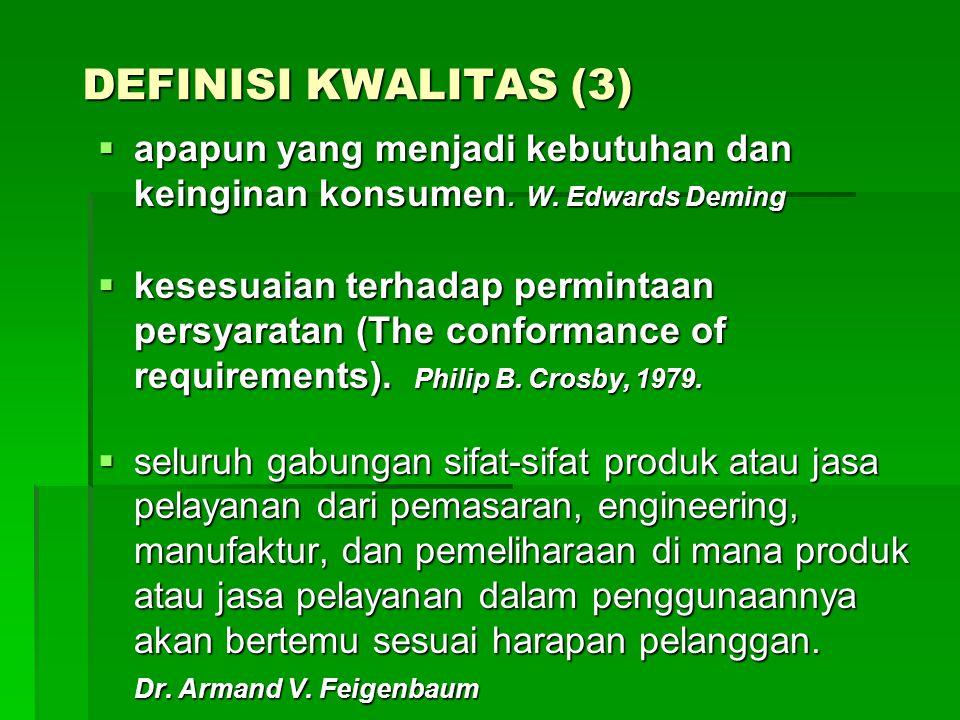 DEFINISI KWALITAS (3)  apapun yang menjadi kebutuhan dan keinginan konsumen. W. Edwards Deming  kesesuaian terhadap permintaan persyaratan (The conf