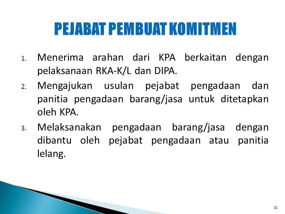 PEJABAT PEMBUAT KOMITMEN 1. Menerima arahan dari KPA berkaitan dengan pelaksanaan RKA-K/L dan DIPA. 2. Mengajukan usulan pejabat pengadaan dan panitia