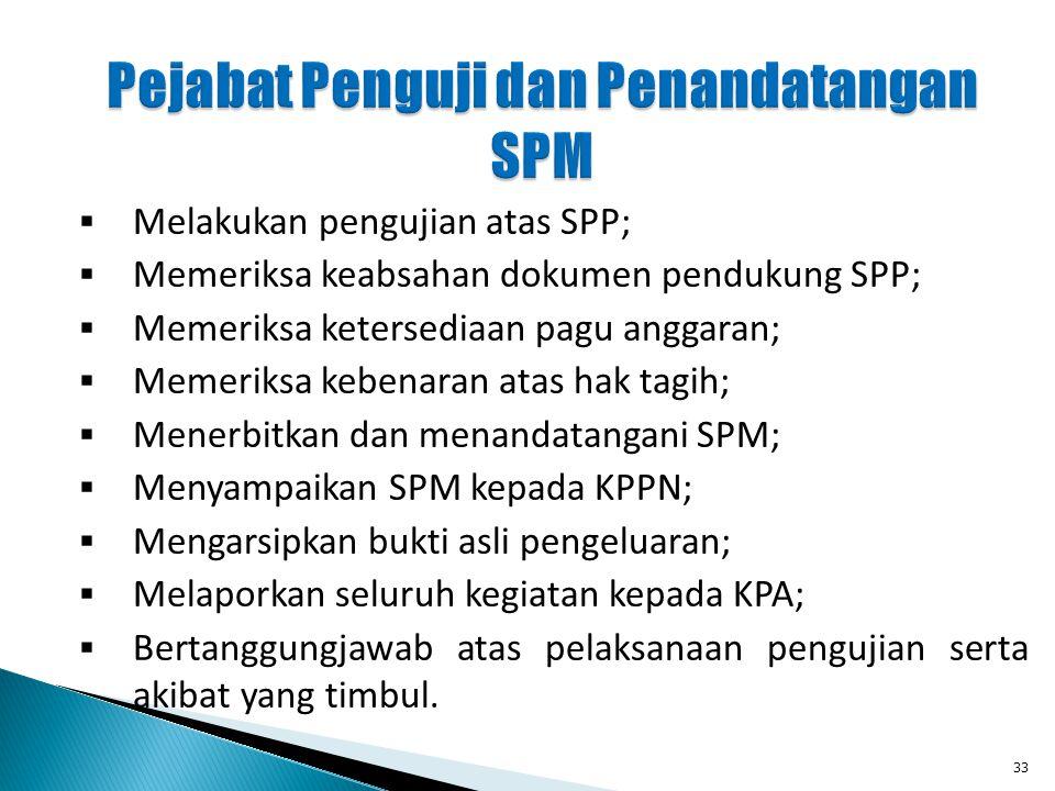  Melakukan pengujian atas SPP;  Memeriksa keabsahan dokumen pendukung SPP;  Memeriksa ketersediaan pagu anggaran;  Memeriksa kebenaran atas hak ta