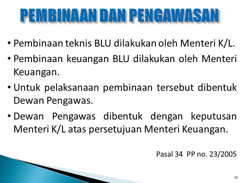 Pembinaan teknis BLU dilakukan oleh Menteri K/L. Pembinaan keuangan BLU dilakukan oleh Menteri Keuangan. Untuk pelaksanaan pembinaan tersebut dibentuk