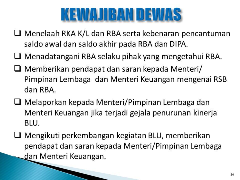  Menelaah RKA K/L dan RBA serta kebenaran pencantuman saldo awal dan saldo akhir pada RBA dan DIPA.  Menadatangani RBA selaku pihak yang mengetahui