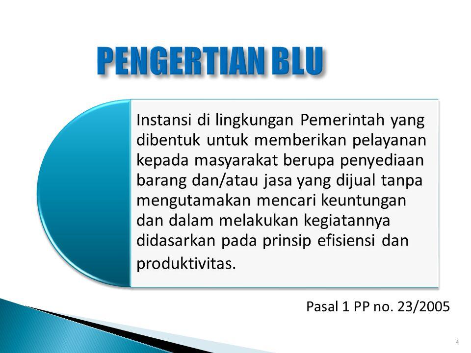 Pasal 1 PP no. 23/2005 Instansi di lingkungan Pemerintah yang dibentuk untuk memberikan pelayanan kepada masyarakat berupa penyediaan barang dan/atau