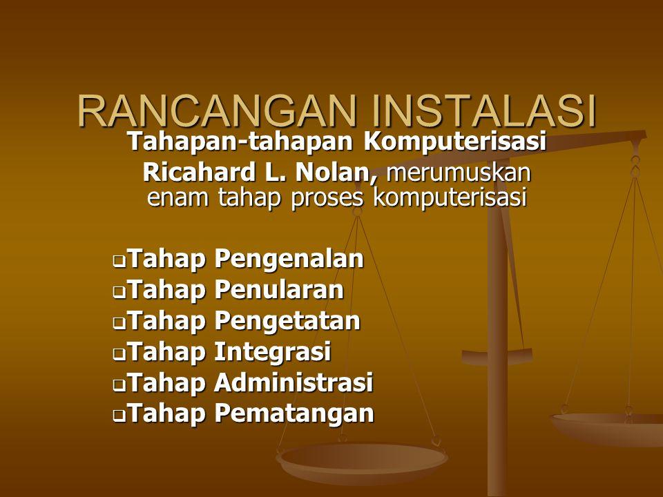 RANCANGAN INSTALASI Tahapan-tahapan Komputerisasi Ricahard L. Nolan, merumuskan enam tahap proses komputerisasi  Tahap Pengenalan  Tahap Penularan 