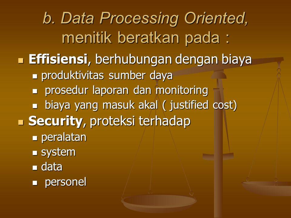 b. Data Processing Oriented, menitik beratkan pada : Effisiensi, berhubungan dengan biaya Effisiensi, berhubungan dengan biaya produktivitas sumber da