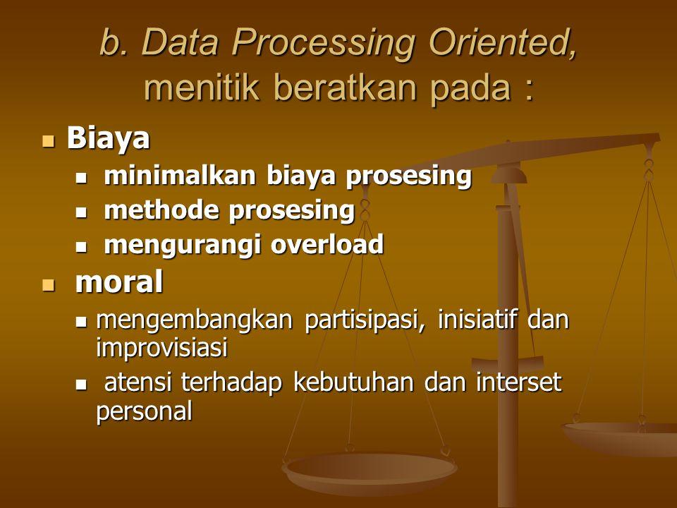 b. Data Processing Oriented, menitik beratkan pada : Biaya Biaya minimalkan biaya prosesing minimalkan biaya prosesing methode prosesing methode prose