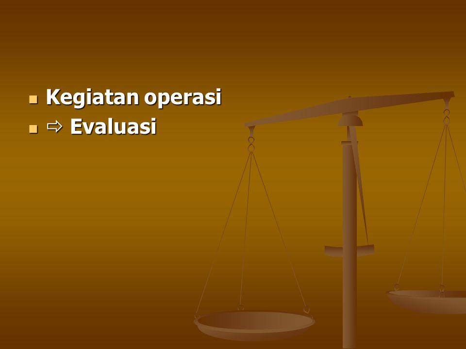 Kegiatan operasi Kegiatan operasi  Evaluasi  Evaluasi