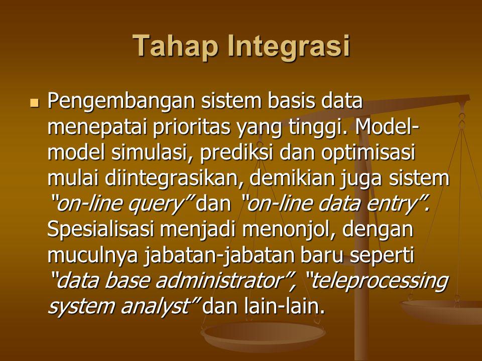 Tahap Integrasi Pengembangan sistem basis data menepatai prioritas yang tinggi. Model- model simulasi, prediksi dan optimisasi mulai diintegrasikan, d
