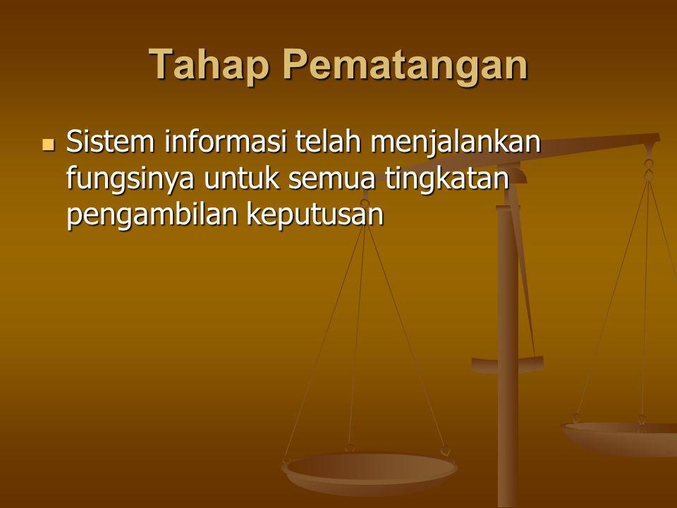 Tahap Pematangan Sistem informasi telah menjalankan fungsinya untuk semua tingkatan pengambilan keputusan Sistem informasi telah menjalankan fungsinya