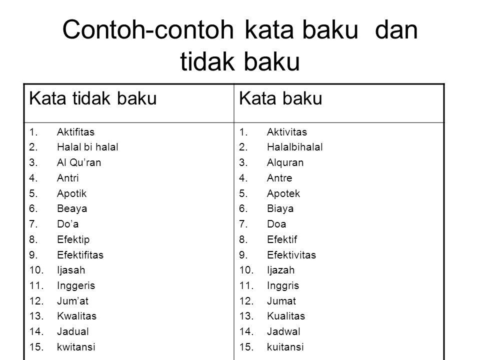 Contoh-contoh kata baku dan tidak baku Kata tidak bakuKata baku 1.Aktifitas 2.Halal bi halal 3.Al Qu'ran 4.Antri 5.Apotik 6.Beaya 7.Do'a 8.Efektip 9.E