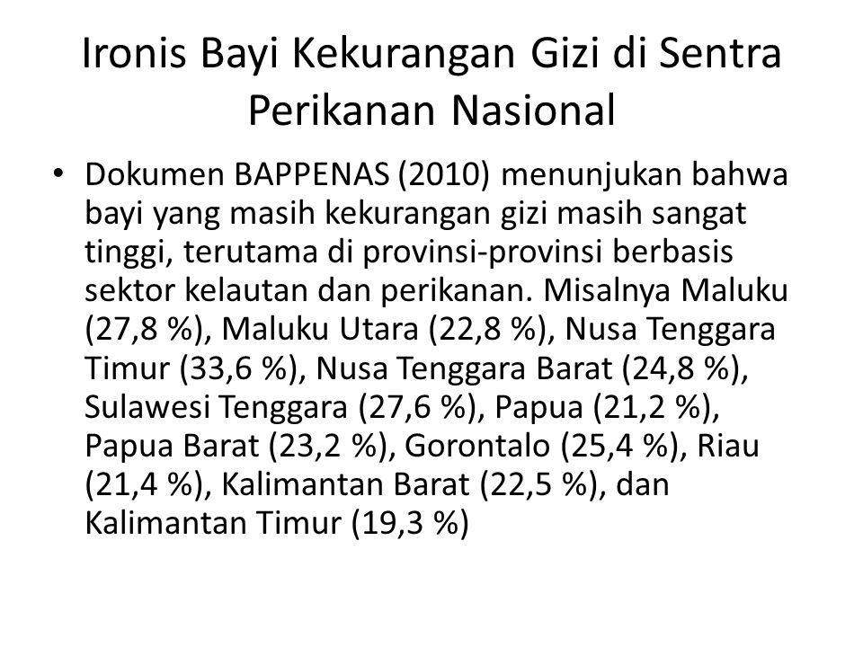 Ironis Bayi Kekurangan Gizi di Sentra Perikanan Nasional Dokumen BAPPENAS (2010) menunjukan bahwa bayi yang masih kekurangan gizi masih sangat tinggi, terutama di provinsi-provinsi berbasis sektor kelautan dan perikanan.