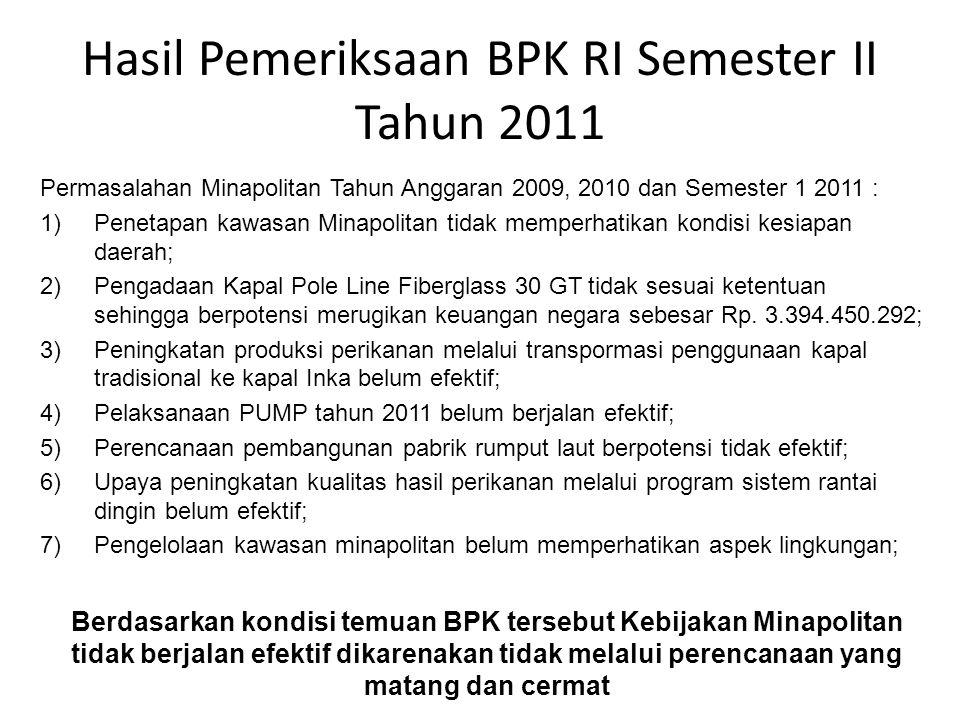 Hasil Pemeriksaan BPK RI Semester II Tahun 2011 Permasalahan Minapolitan Tahun Anggaran 2009, 2010 dan Semester 1 2011 : 1)Penetapan kawasan Minapolit