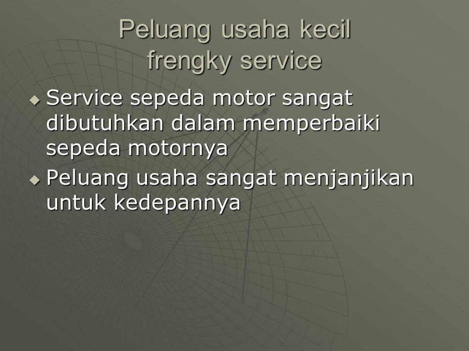 Kelemahan dari usaha kecil frengky service Banyaknya saingan service sepeda motor yang lain Banyaknya saingan service sepeda motor yang lain Peralatan
