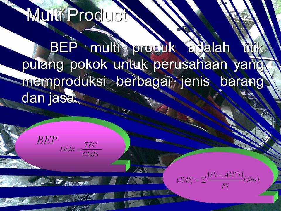 Single Product BEP Single Product adalah BEP untuk perusahaan yang hanya memproduksi satu jenis barang dan jasa.