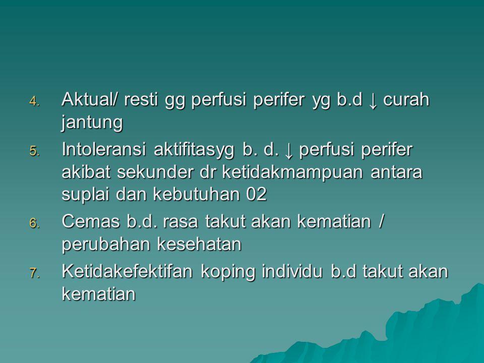4. Aktual/ resti gg perfusi perifer yg b.d ↓ curah jantung 5. Intoleransi aktifitasyg b. d. ↓ perfusi perifer akibat sekunder dr ketidakmampuan antara
