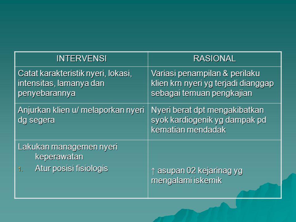 INTERVENSIRASIONAL Catat karakteristik nyeri, lokasi, intensitas, lamanya dan penyebarannya Variasi penampilan & perilaku klien krn nyeri yg terjadi d