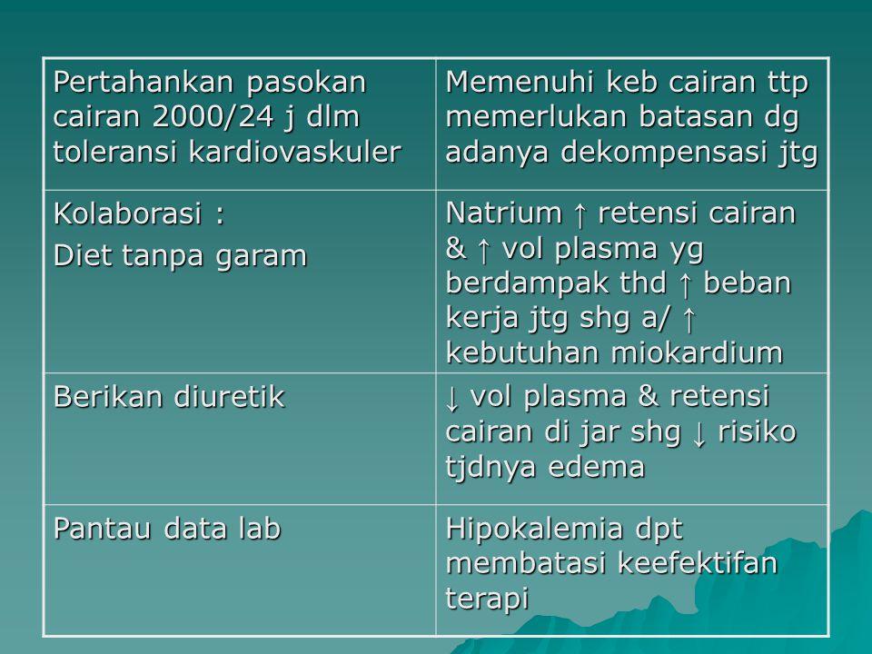 Pertahankan pasokan cairan 2000/24 j dlm toleransi kardiovaskuler Memenuhi keb cairan ttp memerlukan batasan dg adanya dekompensasi jtg Kolaborasi : D