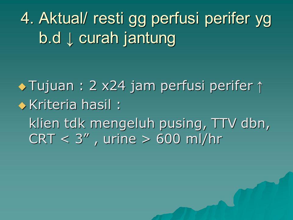 4. Aktual/ resti gg perfusi perifer yg b.d ↓ curah jantung  Tujuan : 2 x24 jam perfusi perifer ↑  Kriteria hasil : klien tdk mengeluh pusing, TTV db
