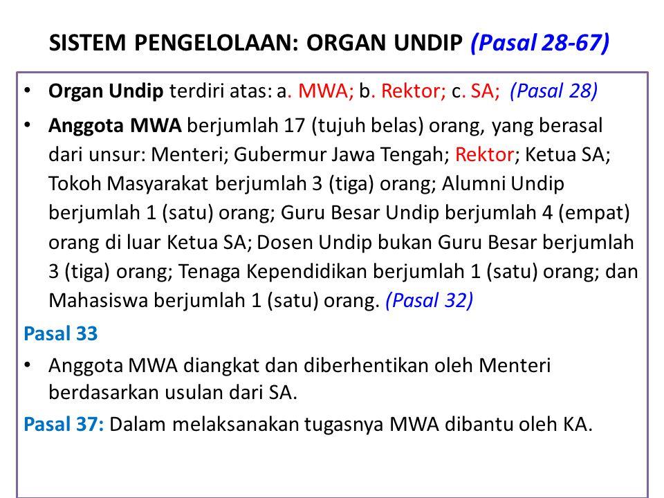 SISTEM PENGELOLAAN: ORGAN UNDIP (Pasal 28-67) Organ Undip terdiri atas: a. MWA; b. Rektor; c. SA; (Pasal 28) Anggota MWA berjumlah 17 (tujuh belas) or