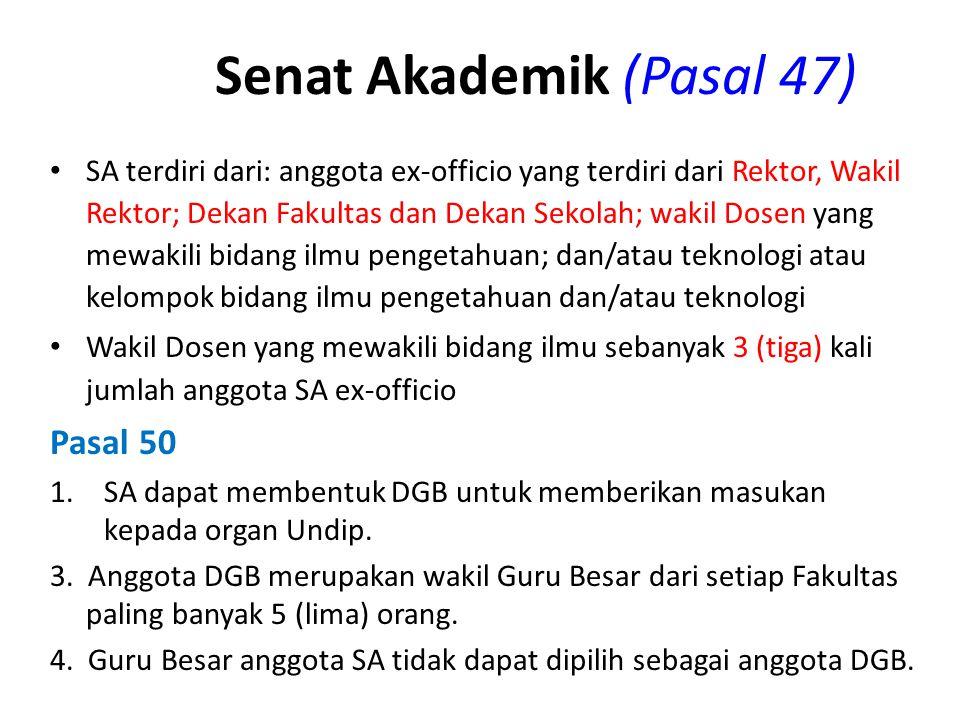 Senat Akademik (Pasal 47) SA terdiri dari: anggota ex-officio yang terdiri dari Rektor, Wakil Rektor; Dekan Fakultas dan Dekan Sekolah; wakil Dosen ya