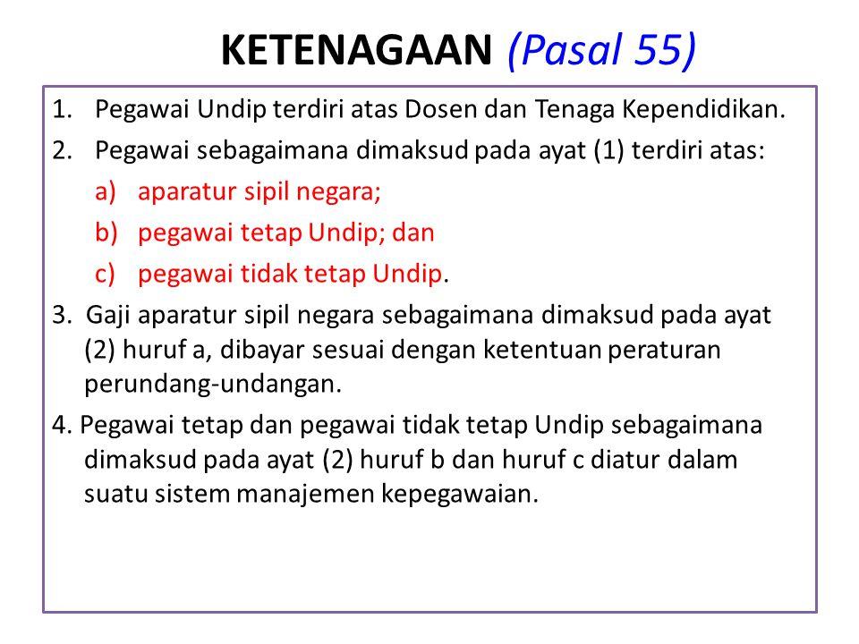 KETENAGAAN (Pasal 55) 1.Pegawai Undip terdiri atas Dosen dan Tenaga Kependidikan. 2.Pegawai sebagaimana dimaksud pada ayat (1) terdiri atas: a)aparatu