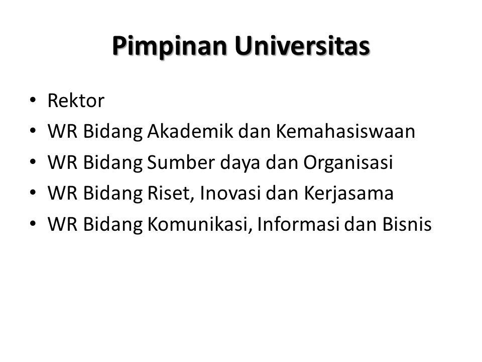 Pimpinan Universitas Rektor WR Bidang Akademik dan Kemahasiswaan WR Bidang Sumber daya dan Organisasi WR Bidang Riset, Inovasi dan Kerjasama WR Bidang