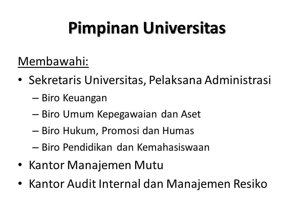 Pimpinan Universitas Membawahi: Sekretaris Universitas, Pelaksana Administrasi – Biro Keuangan – Biro Umum Kepegawaian dan Aset – Biro Hukum, Promosi