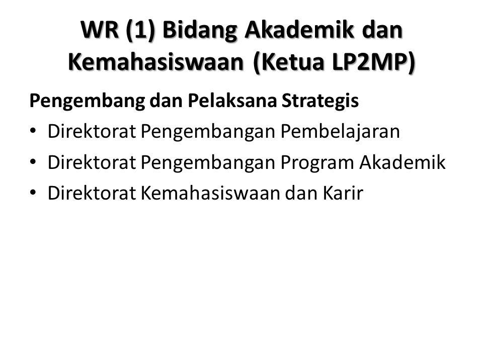 WR (1) Bidang Akademik dan Kemahasiswaan (Ketua LP2MP) Pengembang dan Pelaksana Strategis Direktorat Pengembangan Pembelajaran Direktorat Pengembangan