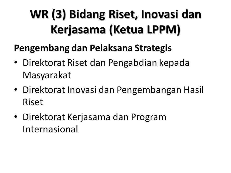WR (3) Bidang Riset, Inovasi dan Kerjasama (Ketua LPPM) Pengembang dan Pelaksana Strategis Direktorat Riset dan Pengabdian kepada Masyarakat Direktora