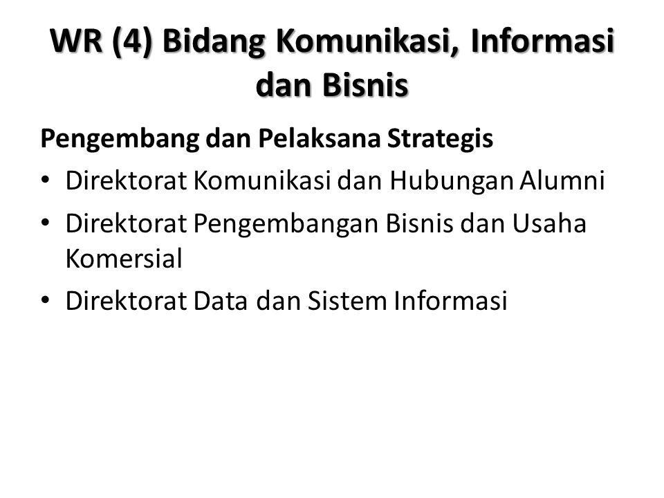 WR (4) Bidang Komunikasi, Informasi dan Bisnis Pengembang dan Pelaksana Strategis Direktorat Komunikasi dan Hubungan Alumni Direktorat Pengembangan Bi