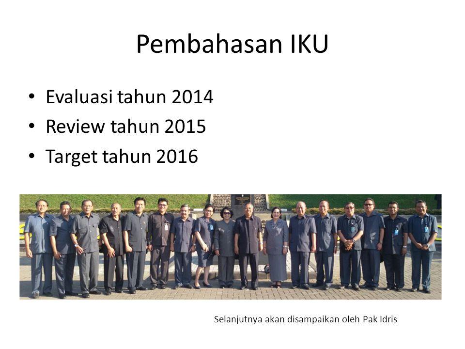 Pembahasan IKU Evaluasi tahun 2014 Review tahun 2015 Target tahun 2016 Selanjutnya akan disampaikan oleh Pak Idris