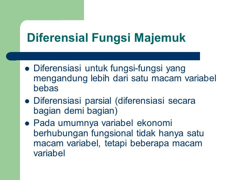 Diferensiasi untuk fungsi-fungsi yang mengandung lebih dari satu macam variabel bebas Diferensiasi parsial (diferensiasi secara bagian demi bagian) Pa