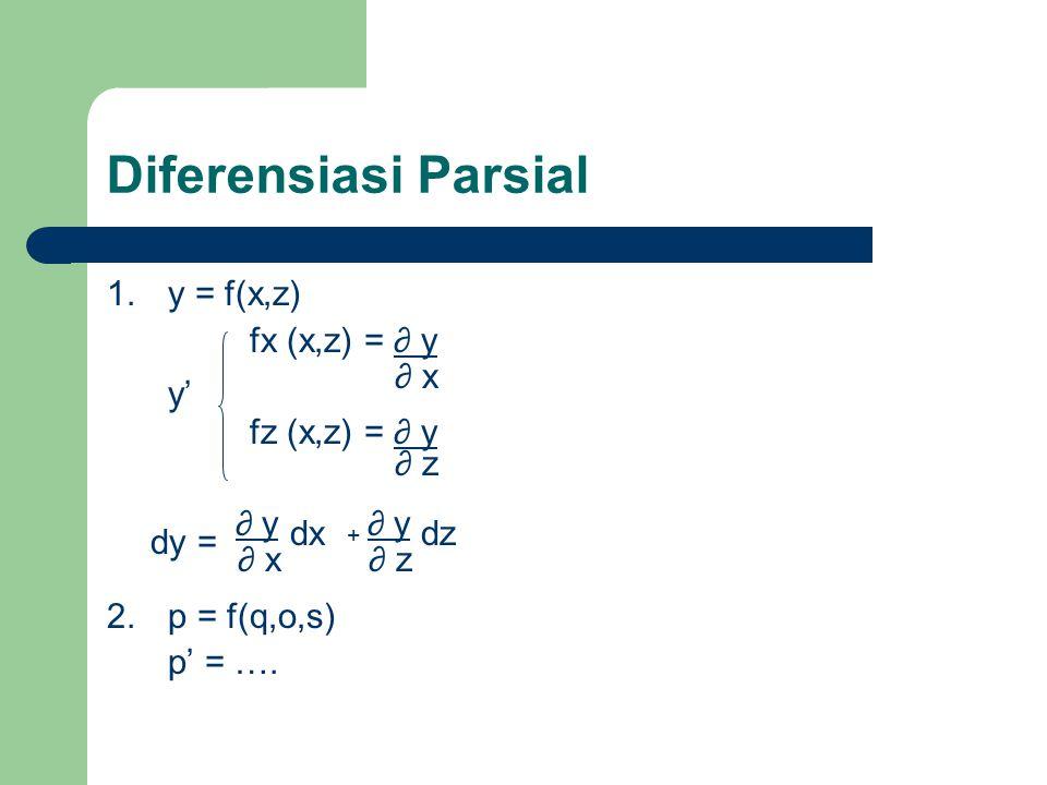 Lanjutan… F xx =2λ = -1 < 0 F yy =2λ = -1 < 0 Karena F xx dan F yy < 0 nilai ekstrimnya adalah nilai maksimum dengan z maks = - 8 Untuk x = -2 dan y = -2, λ = ½ F xx =2λ = 1 > 0 F yy =2λ = 1 > 0 Karena F xx dan F yy > 0 nilai ekstrimnya adalah nilai minimum dengan z min = 8
