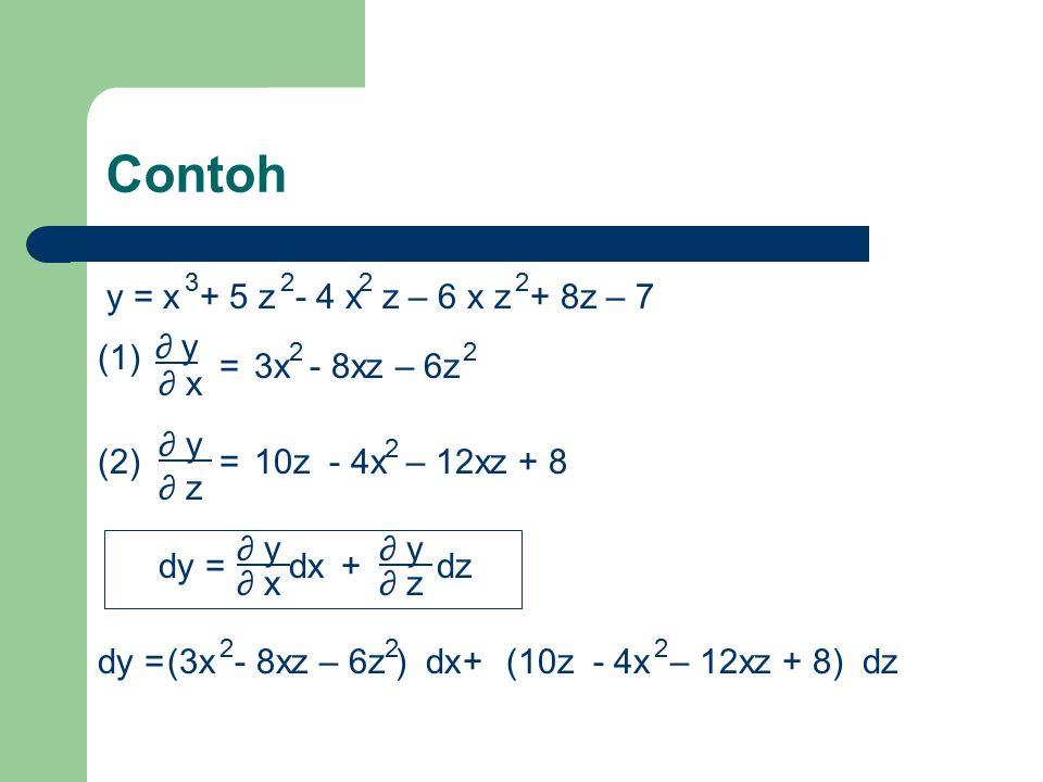 Lanjutan… Dalam contoh diatas ∂y/ ∂x maupun ∂y/ ∂z masih dapat diturunkan secara parsial lagi baik terhadap x maupun terhadap z ∂ y ∂ x (1a) terhadap x : 2 ∂ x 2 = 6x – 8z 2 ∂ y (1b) ∂ x terhadap z : ∂ x ∂ y ∂ z = -8x – 12z ∂ y (2a) ∂ z terhadap x : ∂ z ∂ y ∂ x = -8x – 12z 2 ∂ y (2b) ∂ z terhadap z : ∂ z ∂ y = 10 – 12x 2 2