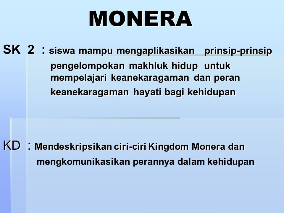 INDIKATOR 1.Menunjukkan ciri-ciri, struktur dan cara reproduksi monera 2.