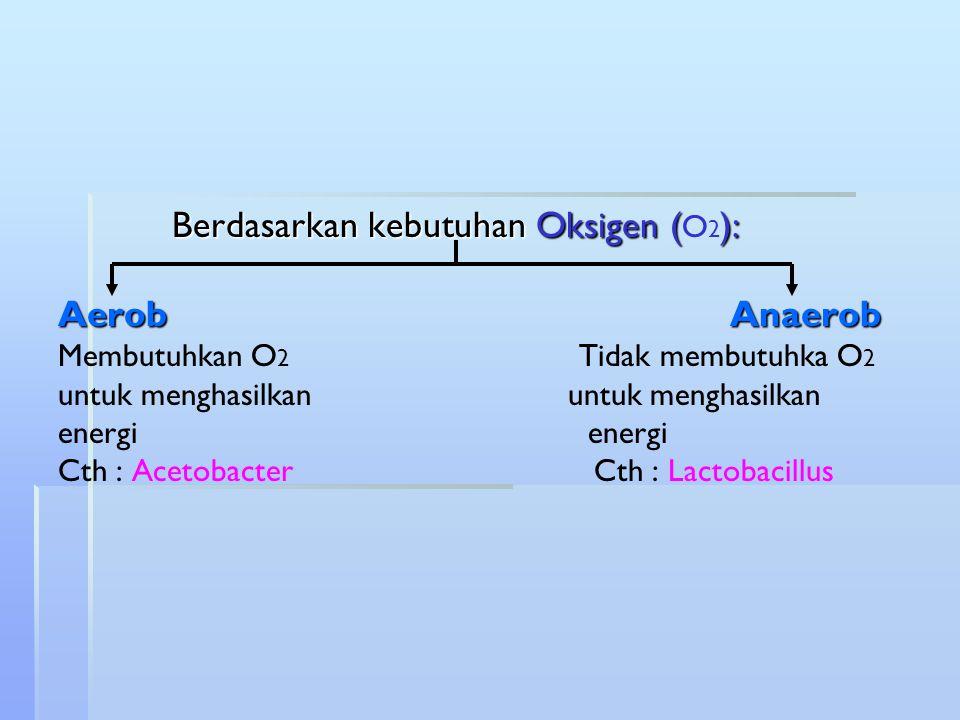 Berdasarkan kebutuhan Oksigen (): AerobAnaerob Berdasarkan kebutuhan Oksigen ( O 2 ): AerobAnaerob Membutuhkan O 2 Tidak membutuhka O 2 untuk menghasi
