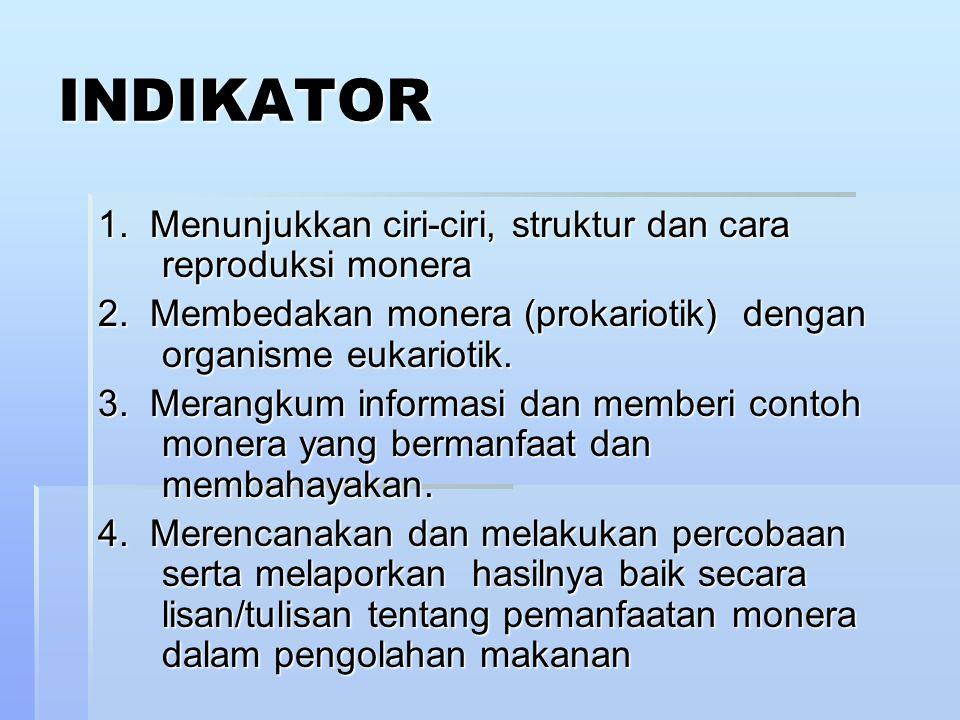 INDIKATOR 1. Menunjukkan ciri-ciri, struktur dan cara reproduksi monera 2. Membedakan monera (prokariotik) dengan organisme eukariotik. 3. Merangkum i
