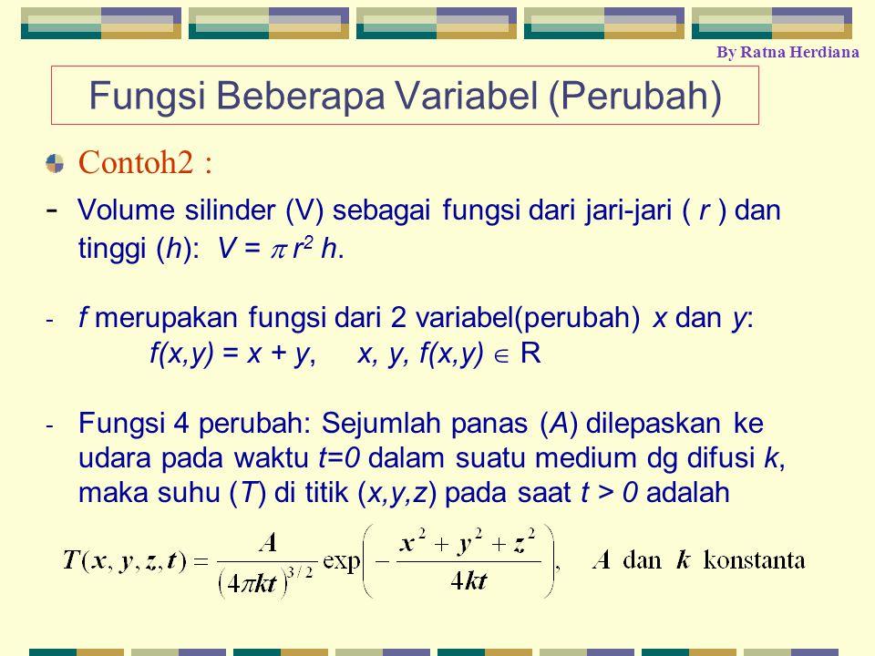 Fungsi Beberapa Variabel (Perubah) Contoh2 : - Volume silinder (V) sebagai fungsi dari jari-jari ( r ) dan tinggi (h): V =  r 2 h. - f merupakan fung