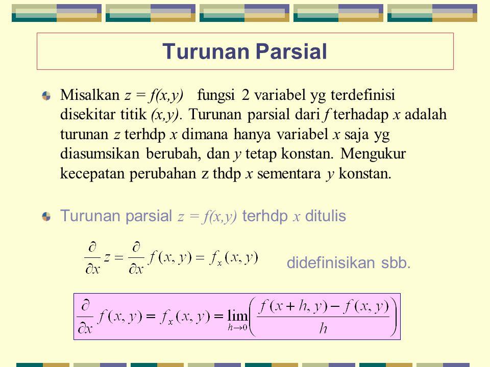 Turunan Parsial Misalkan z = f(x,y) fungsi 2 variabel yg terdefinisi disekitar titik (x,y). Turunan parsial dari f terhadap x adalah turunan z terhdp