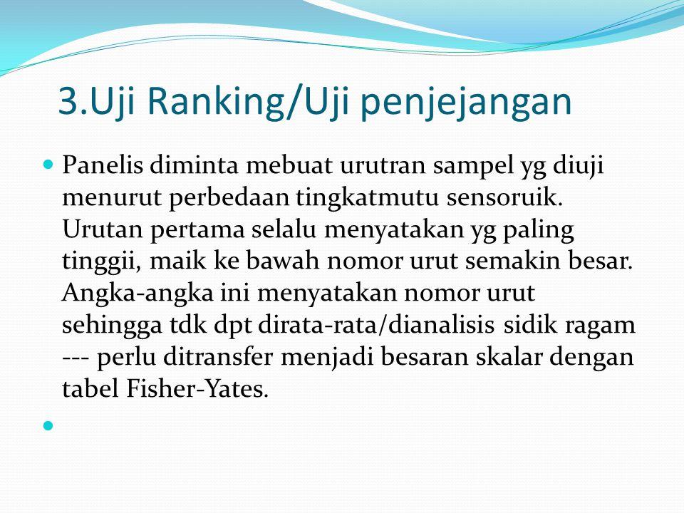 3.Uji Ranking/Uji penjejangan Panelis diminta mebuat urutran sampel yg diuji menurut perbedaan tingkatmutu sensoruik. Urutan pertama selalu menyatakan