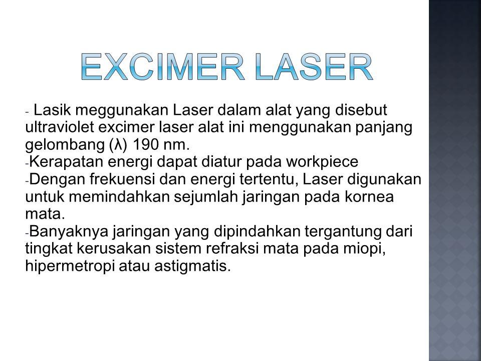 - Lasik meggunakan Laser dalam alat yang disebut ultraviolet excimer laser alat ini menggunakan panjang gelombang (λ) 190 nm. - Kerapatan energi dapat