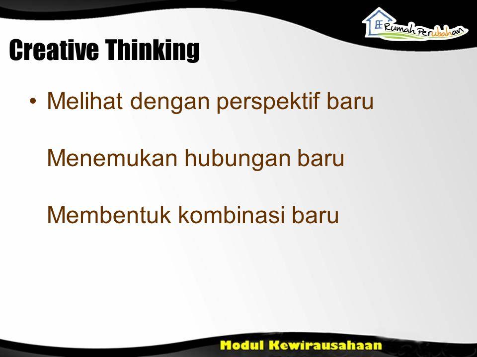 Creative Thinking Melihat dengan perspektif baru Menemukan hubungan baru Membentuk kombinasi baru