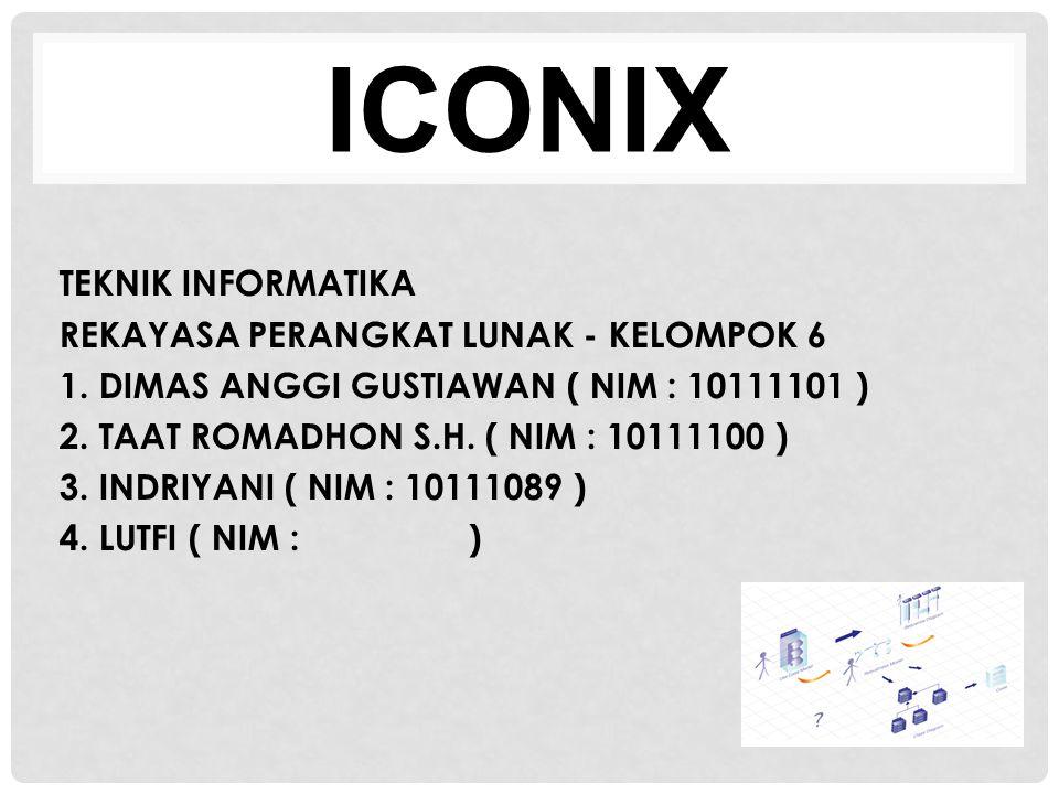 ICONIX TEKNIK INFORMATIKA REKAYASA PERANGKAT LUNAK - KELOMPOK 6 1. DIMAS ANGGI GUSTIAWAN ( NIM : 10111101 ) 2. TAAT ROMADHON S.H. ( NIM : 10111100 ) 3